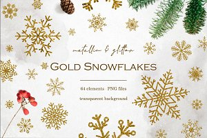64 Gold foil & glitter snowflakes