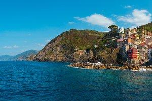 Manarola from ship, Cinque Terre