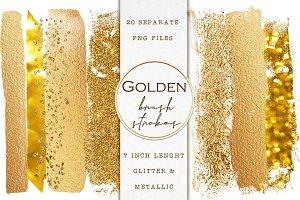 20 Gold foil & glitter Brush Strokes