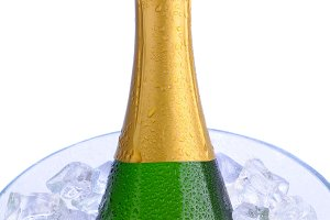 Closeup Champagne Bottle Ice Bucket