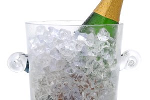 Champagne Bottle in Crystal Bucket