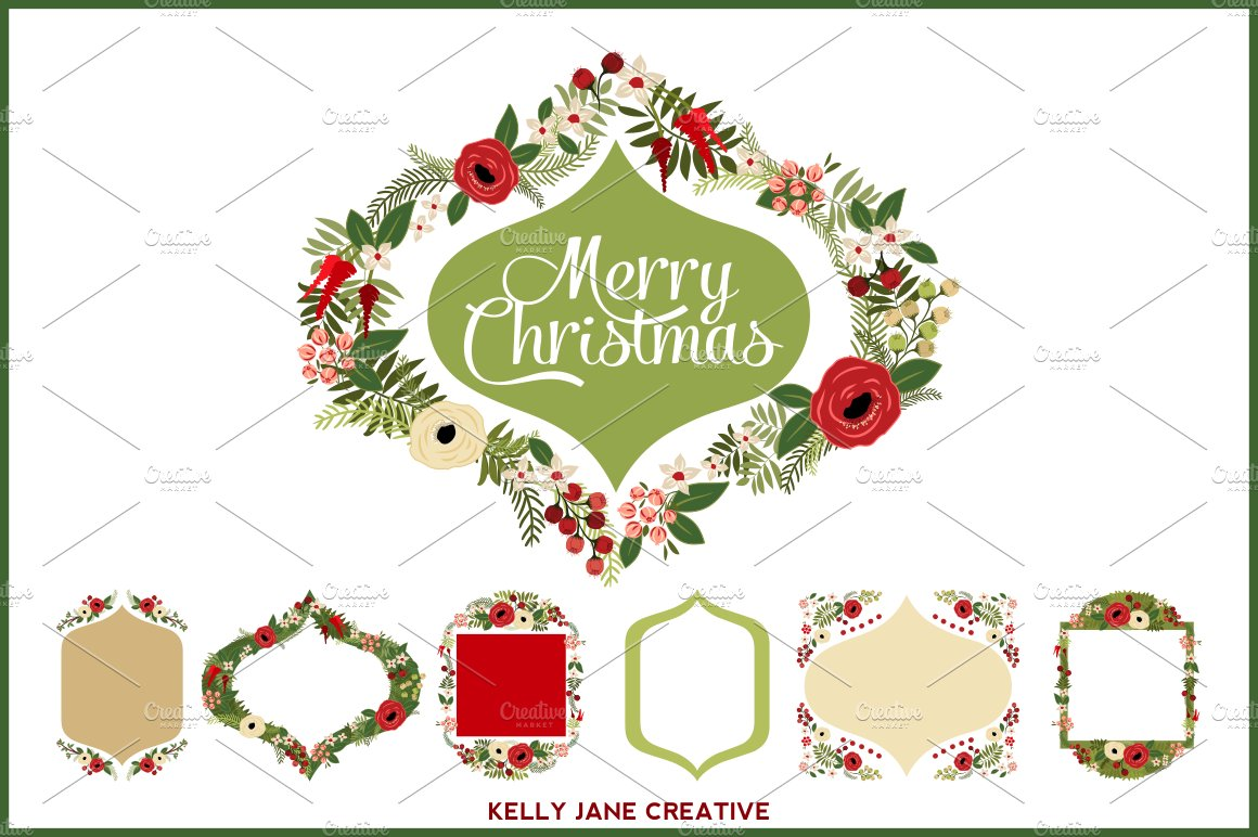 Christmas Wreaths & Frames - Vector ~ Illustrations ~ Creative Market