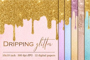 Dripping glitter textures - 12 pcs