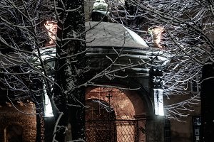 Night winter Lviv city, Ukraine, wel