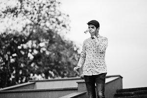 Indian man student at shirt and sung