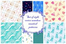 Set of vector nautical patterns