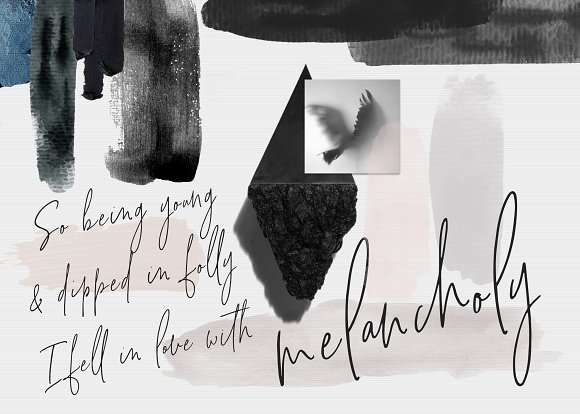 BLACK & NUDE WATERCOLOR BRUSH STROKE in Objects - product preview 3
