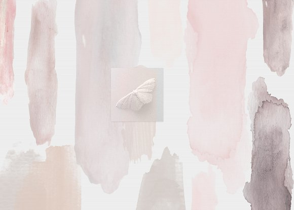 BLACK & NUDE WATERCOLOR BRUSH STROKE in Objects - product preview 4