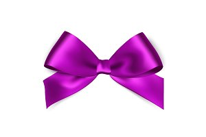 Shiny purple satin ribbon on white
