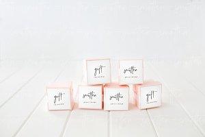Wedding Favor Box Label Mockup