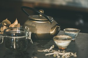 Golden iron teapot and japanese