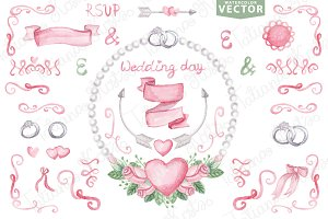 Watercolor vector.Pink wedding set 2