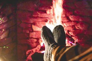 frozen woman legs feet in socks unde