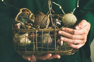Wire basket full of Christmas