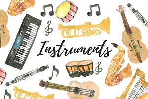 Watercolor Music Instruments