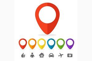 Vector gps pin icon set