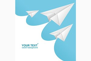 Vector White paper airplane card