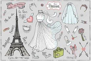 Paris bridal doodle.Fashion set