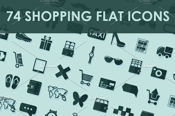 74 SHOPPING flat icons