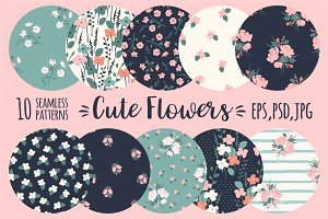 Cute flowers. 10 seamless patterns.