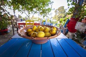 Dish with lemons