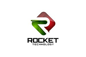 Rocket Tech - 3D Letter R Logo