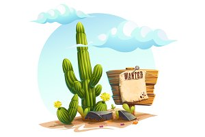 Cactus - vector cartoon illustration