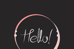 Hello typography badge design vector