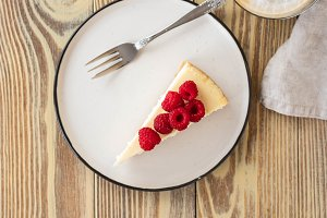 Piece of classic cheesecake with