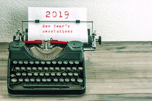 Typewriter white paper page New Year