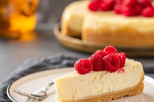 Slice of New York Cheesecake with