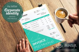"Invoice PSD template mockup ""A"""