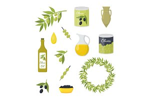 Cartoon Olive Oil Concept Set.