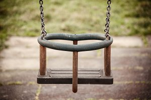 Empty swing in the playground