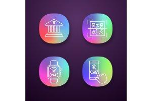 E-payment app icons set