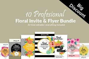 10 Floral Invite Templates Bundle