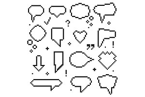 Pixel Art 8 Bit Speech Bubbles Icons
