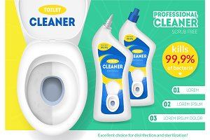 Toilet Bowl and Bottles with Cleaner