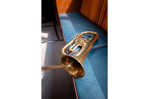 Blowing brass wind instrument on the