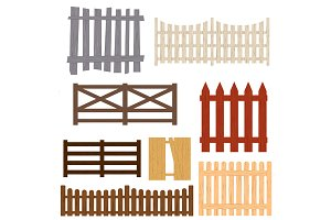 Cartoon Color Wooden Fence Set.