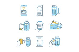 NFC payment color icons set
