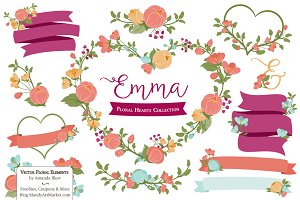 Bohemian Floral Heart Wreath Vectors