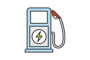 Electric vehicle charge station icon