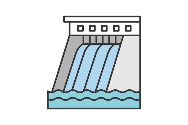 Hydroelectric dam color icon