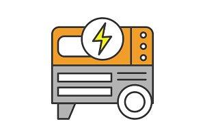 Portable power generator color icon