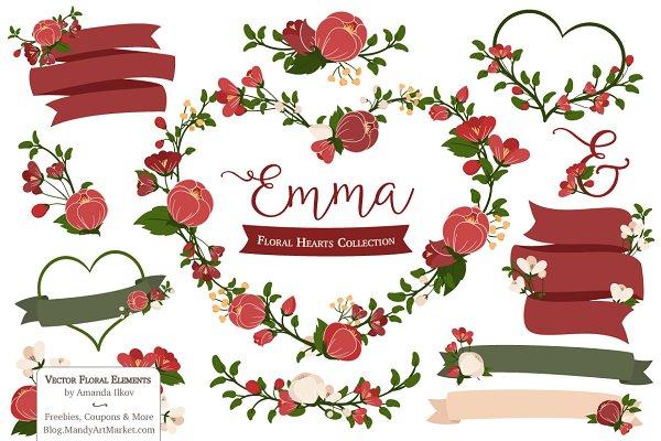 Christmas Floral Heart Wreath Vecto…