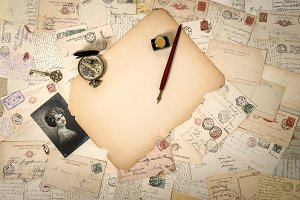 Aged papers, antique accessories