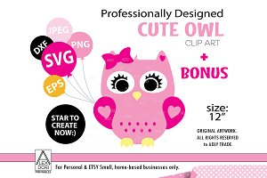 Owl SVG, Girl, owl with Bow clipart