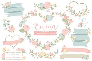 Pastel Floral Heart Wreath Vectors