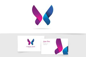 Butterfly Logo Vector Purple Wings